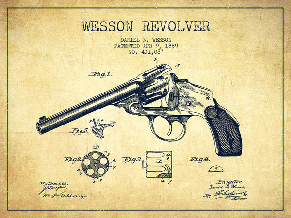 Shooting Digital Art - Wesson Revolver Patent Drawing From 1889 - Vintage by Aged Pixel