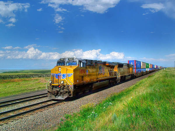 Union Pacific Railroad Wall Art - Photograph - West Bound Containers On The Union Pacific Main Line by Ken Smith