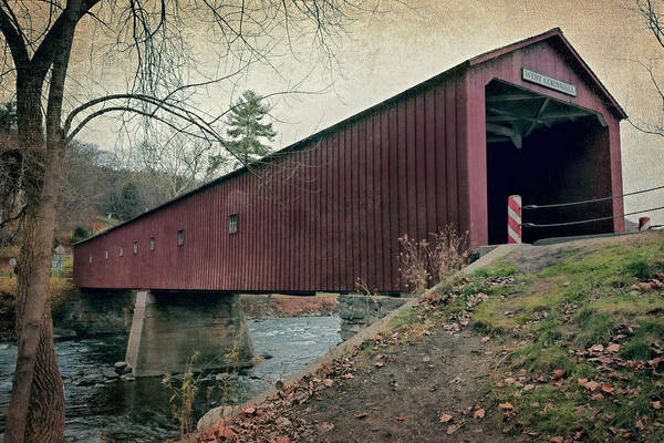 Red Covered Bridge Photograph - West Cornwall Covered Bridge 3 by Joan Carroll