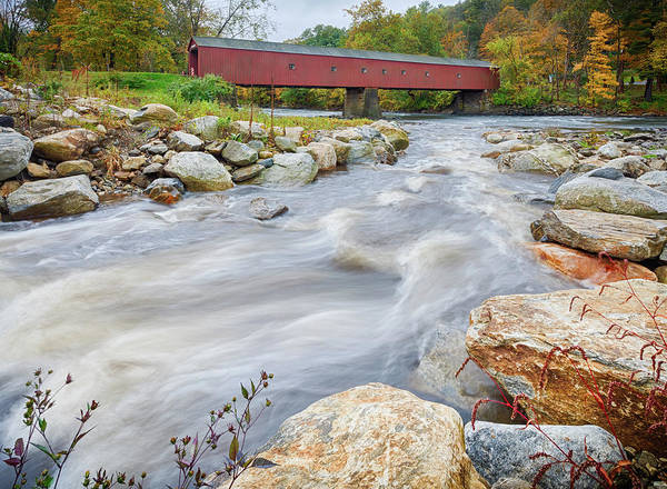 New England Autumn Photograph - West Cornwall Covered Bridge by Enzo Figueres