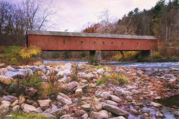Red Covered Bridge Photograph - West Cornwall Covered Bridge 2 by Joan Carroll