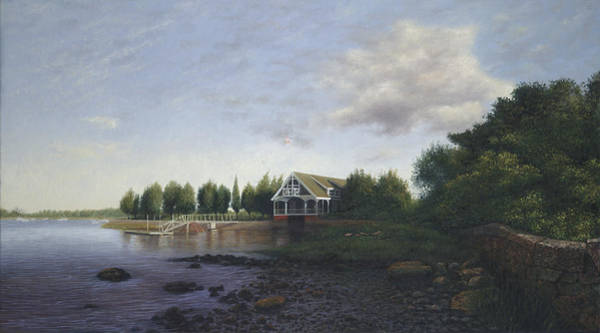 West Bay Painting - West Falmouth Boathouse At Low Tide by Julia O'Malley-Keyes