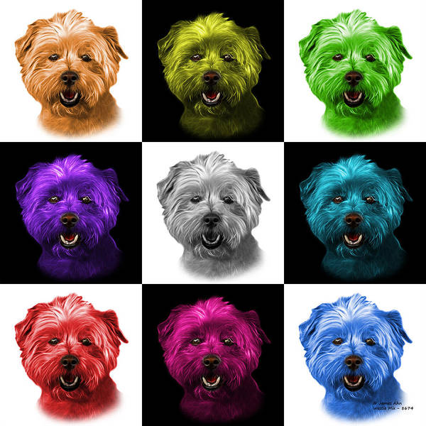 Mixed Media - West Highland Terrier Mix - 8674 -v2 - M by James Ahn