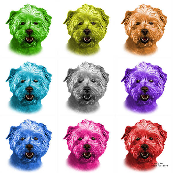 Mixed Media - West Highland Terrier Mix - 8674 -wb - M by James Ahn