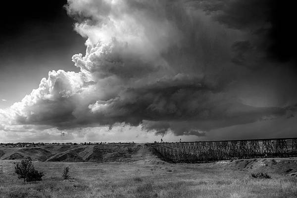 Photograph - West Lethbridge Storm - Bw by Trever Miller