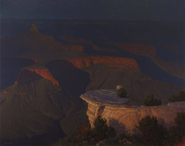 Wall Art - Painting - West Moon Grand Canyon by Cody DeLong