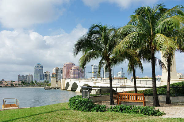 West Palm Beach Cityscape Viewed Across Intracoastal Waterway Art Print by NoDerog