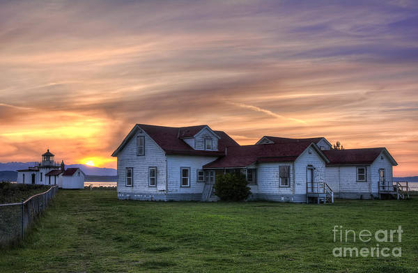 Elliot Bay Wall Art - Photograph - West Point Lighthouse At Sunset by Eddie Yerkish