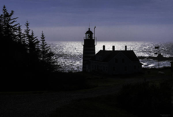 Wall Art - Photograph - West Quoddy Head Light Station In Silhouette by Marty Saccone