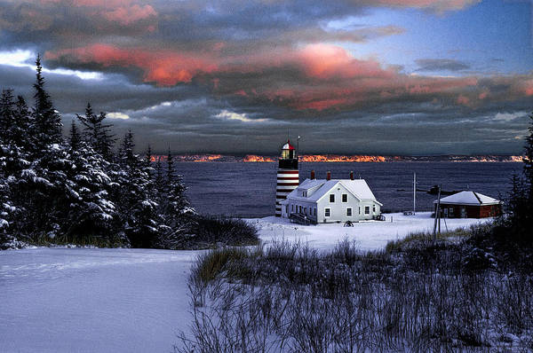 Wall Art - Photograph - West Quoddy Head Lighthouse Winters Dusk Afterglow by Marty Saccone