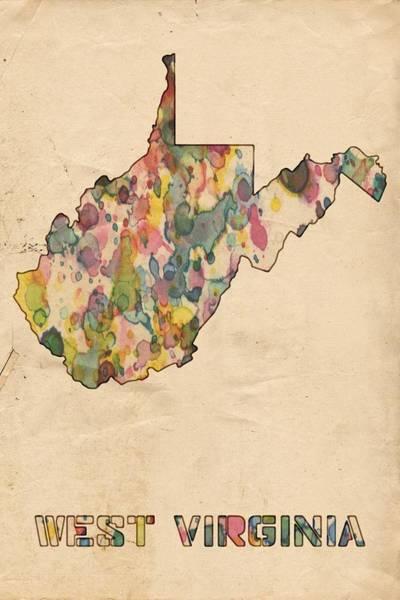 Painting - West Virginia Map Vintage Watercolor by Florian Rodarte