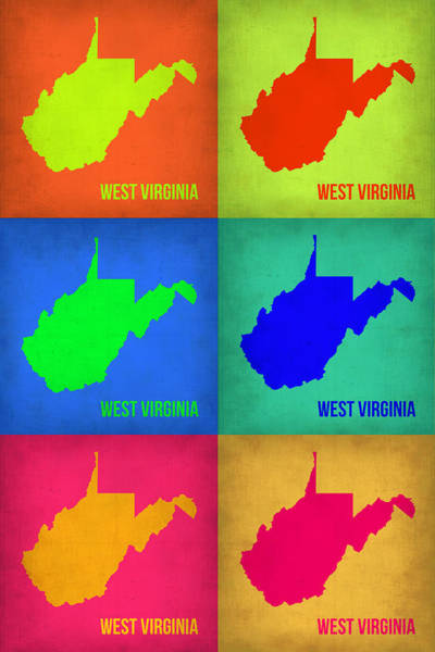 Wall Art - Painting - West Virginia Pop Art Map 1 by Naxart Studio