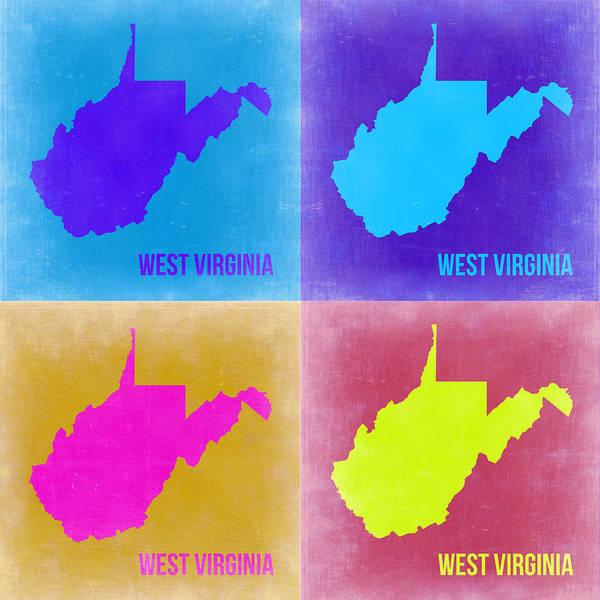 West Wall Art - Painting - West Virginia Pop Art Map 2 by Naxart Studio