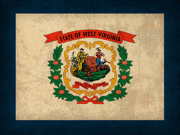 West Virginia Wall Art - Mixed Media - West Virginia State Flag Art On Worn Canvas by Design Turnpike