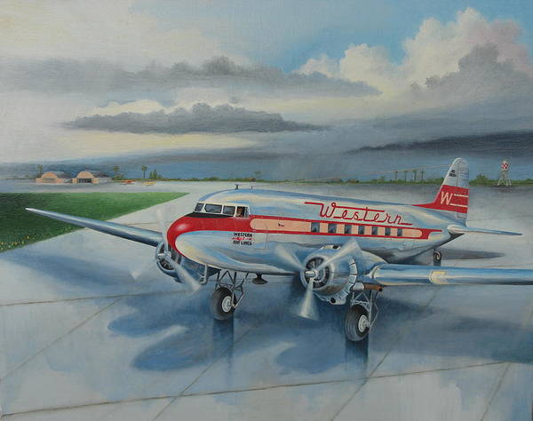 Wall Art - Painting - Western Airlines Dc-3 by Stuart Swartz