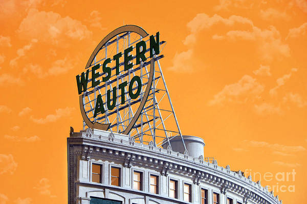 Photograph - Western Auto Sign Artistic Sky by Andee Design