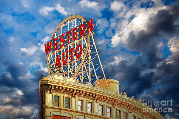 Photograph - Western Auto Sign Downtown Kansas City by Andee Design