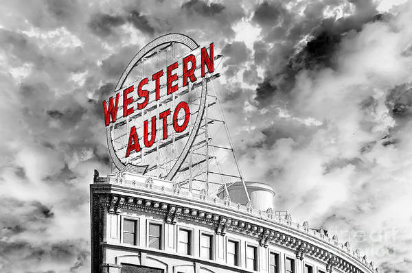 Photograph - Western Auto Sign Downtown Kansas City B W by Andee Design