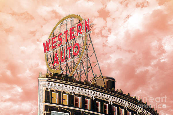 Photograph - Western Auto Sign Downtown Kansas City In Pink by Andee Design