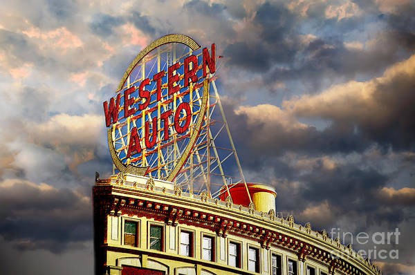 Photograph - Western Auto Sign Kansas City Chiefs Colors by Andee Design