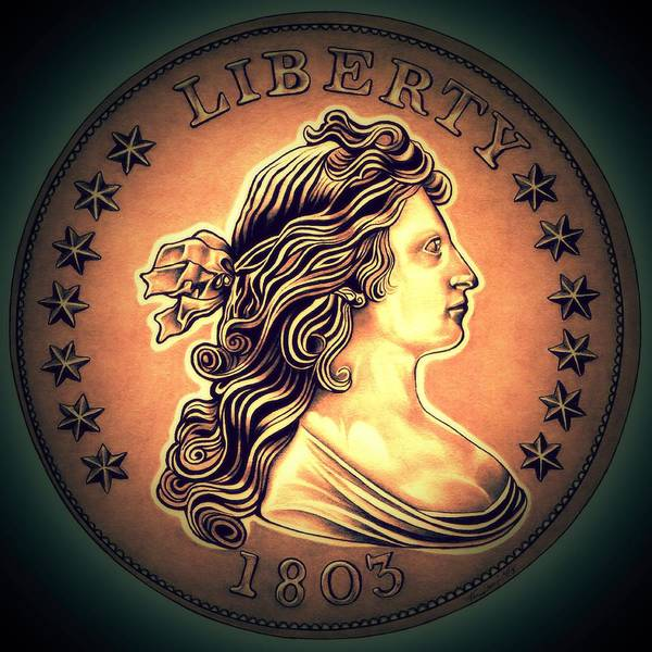 Drawing - Western Draped Bust Liberty Dollar by Fred Larucci