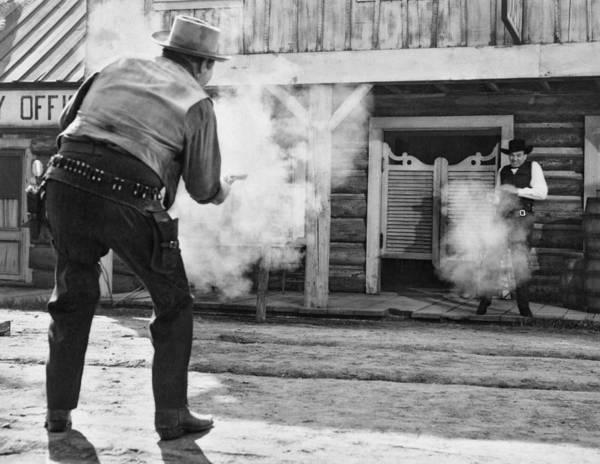 Door To Door Photograph - Western Film Shootout by Underwood Archives
