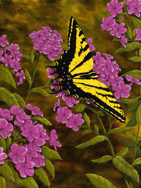 Wall Art - Painting - Western Tiger Swallowtail And Evening Phlox by Rick Bainbridge