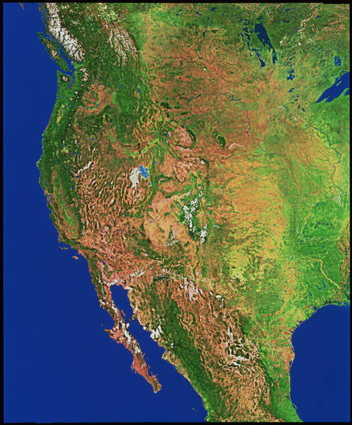 Northern Arizona Wall Art - Photograph - Western Usa & North America From Space by Worldsat International Inc./science Photo Library