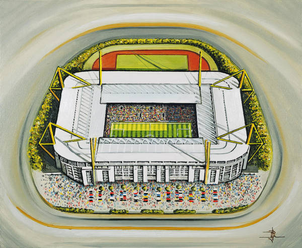 Wall Art - Painting - Westfalonstadion - Borussia Dortmund by D J Rogers