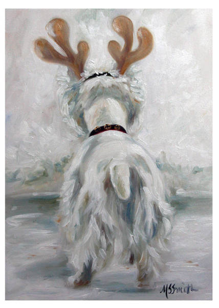 Wall Art - Painting - Westie Deer by Mary Sparrow