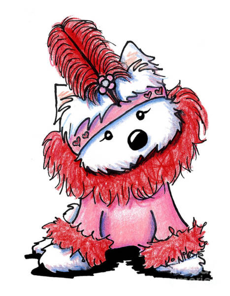 Flappers Drawing - Westie Flapper Valentine by Kim Niles