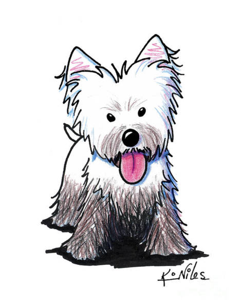 Naughty Dog Wall Art - Drawing - Westie Muddy Westie by Kim Niles