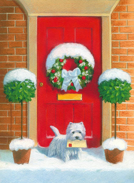 Snow Scene Painting - Westie Post by David Price
