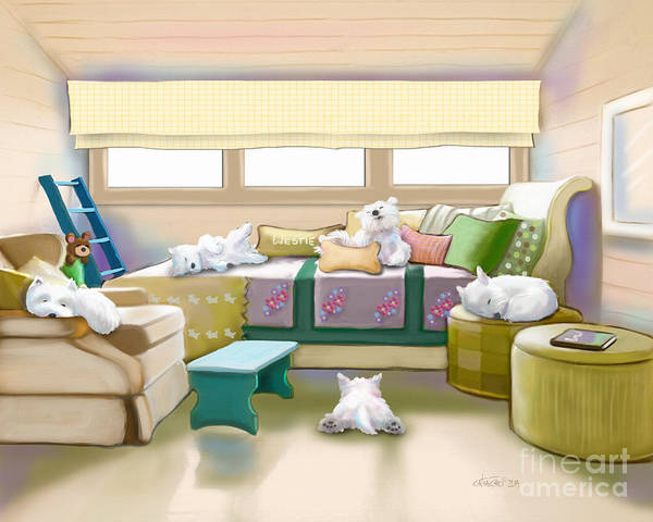 Digital Art - Westie Retreat  by Catia Lee