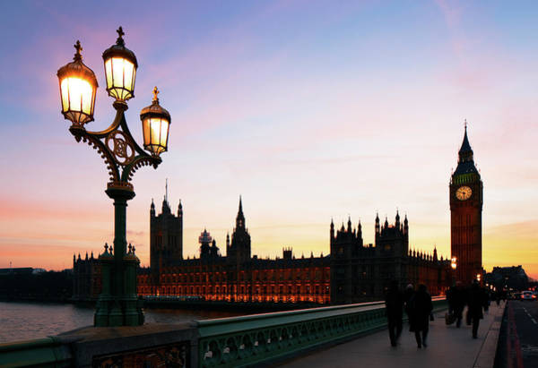 The Clock Tower Photograph - Westminster Bridge And Houses Of by Gary Yeowell