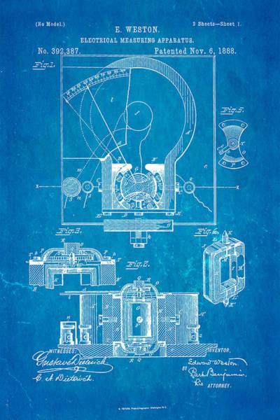 1888 Photograph - Weston Voltmeter Patent Art 1888 Blueprint by Ian Monk