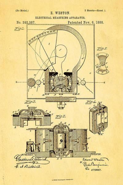 1888 Photograph - Weston Voltmeter Patent Art 1888 by Ian Monk