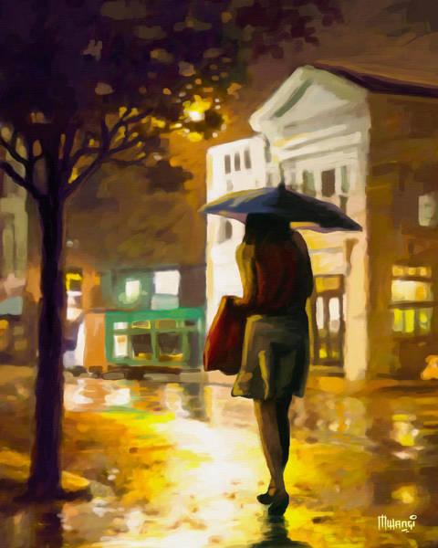 Walking In The Rain Wall Art - Painting - Wet Night by Anthony Mwangi