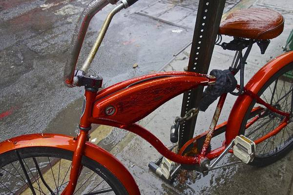 Photograph - Wet Orange Bike   Nyc by Joan Reese