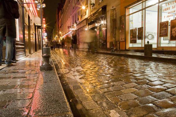 Walking In The Rain Wall Art - Photograph - Wet Paris Street by Matthew Bamberg