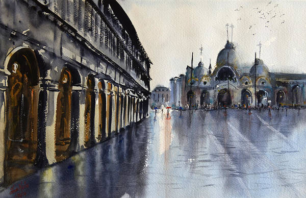 Wall Art - Painting - Wet Venice by James Nyika