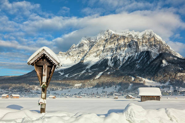 Wayside Photograph - Wetterstein Mountain Chain With Mt by Martin Zwick