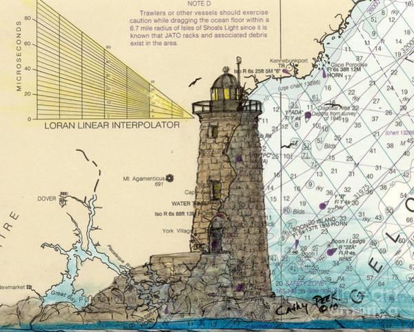 Wall Art - Painting - Whaleback Ledge Lighthouse Me Cathy Peek Nautical Chart Map Art by Cathy Peek