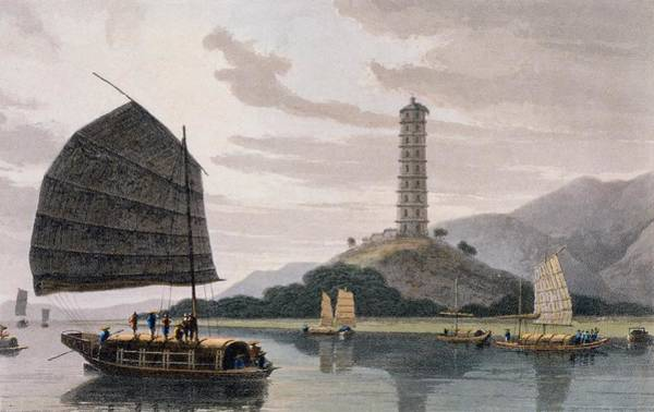 Riverbank Drawing - Wham Poa Pagoda, With Boats Sailing by Thomas and William Daniell