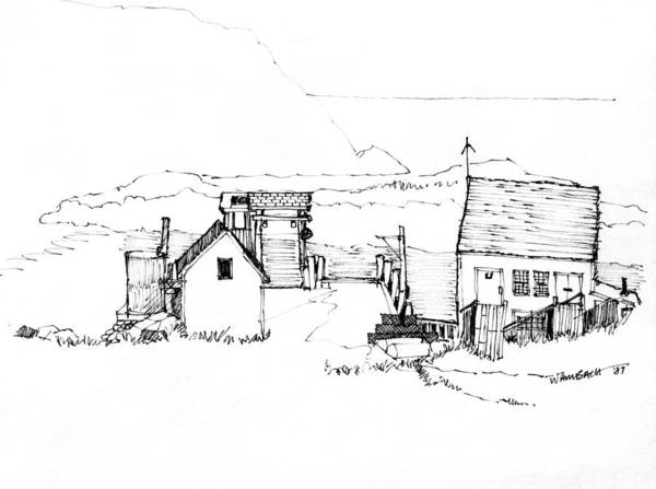 Drawing - Wharf Monhegan Island 1987 by Richard Wambach