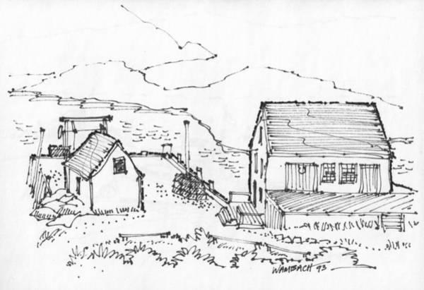 Drawing - Wharf On Monhegan Island 1993 by Richard Wambach