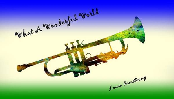 Dehner Painting - What A Wonderful World Armstrong Trumpet  by David Dehner