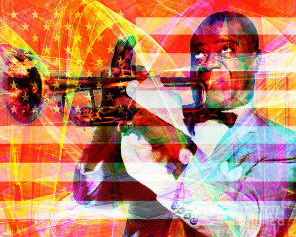 Photograph - What A Wonderful World Louis Armstrong With Flag 20141218 V1 by Wingsdomain Art and Photography