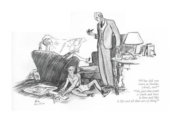 Alice Drawing - What Did You Learn At Sunday School by Alice Harvey