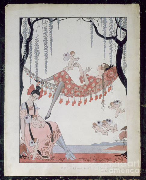 Putto Painting - What Do Young Women Dream Of? by Georges Barbier